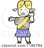 Cartoon Of A Girl Crossing Guard Royalty Free Vector Illustration
