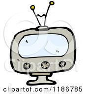 Cartoon Of An Old Fashioned Television Royalty Free Vector Illustration