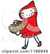 Cartoon Of A Child Dressed In A Red Riding Hood Costume Royalty Free Vector Illustration