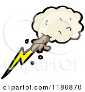 Cartoon Of A Hand And A Lightning Bolt In The Clouds Royalty Free Vector Illustration by lineartestpilot