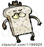 Cartoon Of A Piece Of Bread Dressed As A Cowboy Royalty Free Vector Illustration