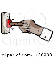 Cartoon Of A Hand Pushing A Button Royalty Free Vector Illustration