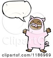 Cartoon Of A Child Wearing A Pig Costume Royalty Free Vector Illustration