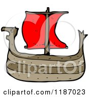 Cartoon Of A Viking Ship Royalty Free Vector Illustration by lineartestpilot