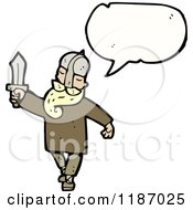 Cartoon Of A Viking Speaking Royalty Free Vector Illustration by lineartestpilot