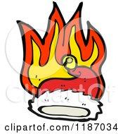 Cartoon Of A Burning Santa Hat Royalty Free Vector Illustration