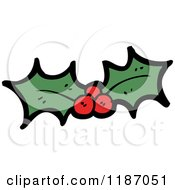 Cartoon Of Holly And Berries Royalty Free Vector Illustration