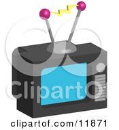 Outdated Box Television With Antannae Clipart Illustration