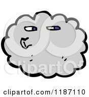 Cartoon Of A Cloud Blowing Royalty Free Vector Illustration by lineartestpilot