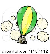 Cartoon Of A Flying Hot Air Balloon Royalty Free Vector Illustration by lineartestpilot