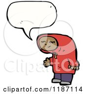 Cartoon Of A Black Child Wearing A Hoodie Speaking Royalty Free Vector Illustration by lineartestpilot