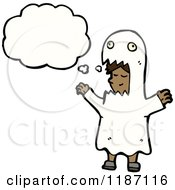 Cartoon Of A Child Wearing A Ghost Costume Thinking Royalty Free Vector Illustration by lineartestpilot