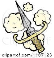 Cartoon Of A Dagger With Dust Puffs Royalty Free Vector Illustration by lineartestpilot