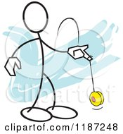 Cartoon Of A Stickler Man Playing With A Yo Yo Royalty Free Vector Clipart by Johnny Sajem