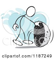 Cartoon Of A Stickler Man Looking Under A Rock No Stone Unturned Royalty Free Vector Clipart