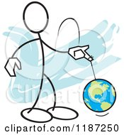 Cartoon Of A Stickler Man With The World On A String Royalty Free Vector Clipart