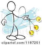 Cartoon Of A Stickler Man Yo Yo Ace Royalty Free Vector Clipart