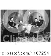 Illustration Of Willie Robert Tad Mr And Mrs Abraham Lincoln Sitting Around A Table In 1861 Royalty Free Historical Clipart