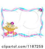 Happy Baby Border With Pink And Blue Ribbons