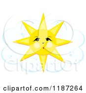 Cartoon Of A Surprised Sun Over A Cloud Royalty Free Vector Clipart by bpearth