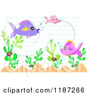Cartoon Of Pink And Purple Fish Over Plants And Waves Royalty Free Vector Clipart by bpearth
