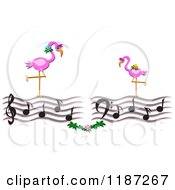 Pink Flamingos Over Music Notes