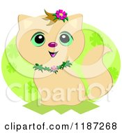 Cartoon Of A Cute Sitting Beige Cat With Flowers Over Green Royalty Free Vector Clipart by bpearth