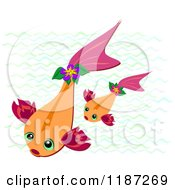 Cartoon Of Orange Koi Fish And Waves Royalty Free Vector Clipart