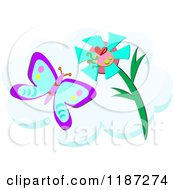 Cartoon Of A Butterfly And Flower With A Heart Over A Cloud Royalty Free Vector Clipart by bpearth