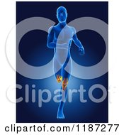 Clipart Of A 3d Running Xray Man With Glowing Knees On Blue Royalty Free CGI Illustration