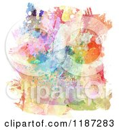 Clipart Of A Background Of Splattered Watercolour Paints Royalty Free CGI Illustration