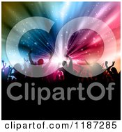 Clipart Of A Crowd Of Silhouetted People Over A Burst Of Colorful Lights Royalty Free Vector Illustration by KJ Pargeter