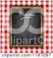 Clipart Of A Red Gingham And Black Board Menu Design Royalty Free Vector Illustration by KJ Pargeter