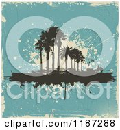 Clipart Of Silhouetted Palm Trees Over Blue And Beige Grunge Royalty Free Vector Illustration