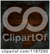 Clipart Of A 3d Border Of Concrete Around Grungy Wood Royalty Free CGI Illustration