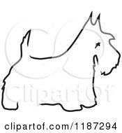 Cartoon Of A Sketched Black And White Outline Of A Scottie Dog Royalty Free Vector Clipart by Maria Bell