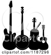 Cartoon Of A Black And White Electric Guitar Banjo Violin Or Cello And Ukulele Royalty Free Vector Clipart by Maria Bell
