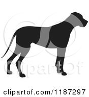 Cartoon Of A Black Silhouette Of A Great Dane Standing In Profile Royalty Free Vector Clipart by Maria Bell