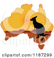 Cartoon Of A Silhouetted Australian Kangaroo And Joey On A Sunset Aussie Map Royalty Free Vector Clipart