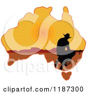 Silhouetted Australian Cowboy On A Sunset Aussie Map