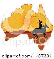 Cartoon Of A Silhouetted Australian Cowboy On Horseback On A Sunset Aussie Map Royalty Free Vector Clipart by Maria Bell