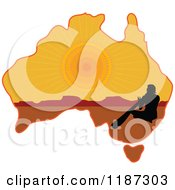 Silhouetted Australian Aboriginal Playing A Didgeridoo On A Sunset Aussie Map