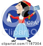 Cartoon Of A Greek Woman Dancing In Traditional Costume Over Blue With Opa Text Royalty Free Vector Clipart