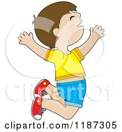 Cartoon Of A Happy Brunette Boy Jumping Royalty Free Vector Clipart by Maria Bell