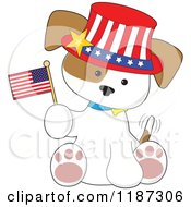Cartoon Of A Patriotic Puppy Sitting Wearing A Hat And Holding An American Flag Royalty Free Vector Clipart