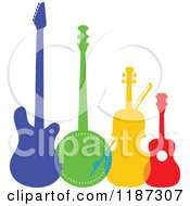 Cartoon Of A Colorful Electric Guitar Banjo Violin Or Cello And Ukulele Royalty Free Vector Clipart