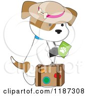Cartoon Of A Traveler Puppy With A Passport Camera And Suitcase Royalty Free Vector Clipart by Maria Bell