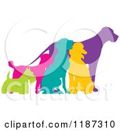 Cartoon Of Colorful Silhouetted Scottie German Pointer Poodle Mixed Breed And Great Dane Dogs Royalty Free Vector Clipart