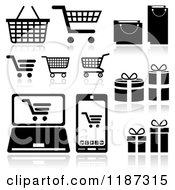 Clipart Of Black And White Shopping Cart Bag Gift And Gadget Website Icons Royalty Free Vector Illustration by dero