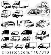 Clipart Of Black And White Shipping Van And Truck Icons Royalty Free Vector Illustration by dero #COLLC1187316-0053